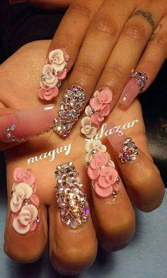 . 3d Nails, Love Nails, 3d Nail Designs, Nails Design, Gold Glitter Nail Polish, Girly, Nail Art, Claws, Nail Ideas