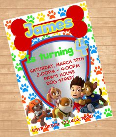 Paw Patrol Invitation Party By ColorfulPaperPrints 1000 Birthday Decorations