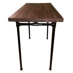 This Is An Amazing Custom Made Solid Walnut Wood In Butcher Block Table With Steel Black Pipe