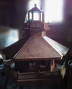 Beautiful wooden birdhouse by Mike Martin for sale at Fieldcrest Estate, North Canton, Ohio