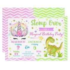 Unicorn and Dinosaur Joint Birthday Invitation #Birthday #BirthdayInvitations #BirthdayInvites Dinosaur Birthday Invitations, Unicorn Invitations, Christmas Party Invitations, Unicorn Birthday Parties, Zazzle Invitations, Twin Birthday, Sister Birthday, Birthday Fun, Combined Birthday Parties