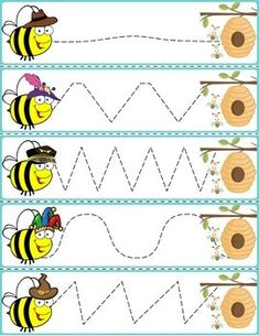Trace The Pattern: Bees To Beehives Preschool Learning Activities, Free Preschool, Alphabet Activities, Preschool Worksheets, Infant Lesson Plans, Alphabet For Kids, Pre Writing, Early Learning, Kindergarten