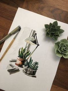 Paint my desk later - #desk #paint Plants Watercolor, Watercolor Design, Watercolor Sketch, Sketch Painting, Watercolor Illustration, Watercolour Painting, Succulent Water Color, Drawing Interior, Interior Sketch