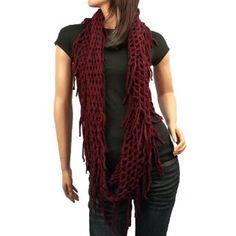 Winter Knit Fishnet Fringe Net Loop Circle Eternity Infinity Scarf Chain Wine SK Hat shop. $23.95