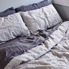 In Bed Stripe Linen Duvet Set Bedrooms Home Bedroom Linen Duvet Cozy Bedroom, Bedroom Inspo, Dream Bedroom, Bedroom Decor, Linen Bedroom, Bedroom Sets, Deco Studio, Linen Duvet, Striped Linen