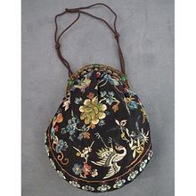 Antique Chinese Qing Dynasty embroidered Silk Hand Purse to Robe