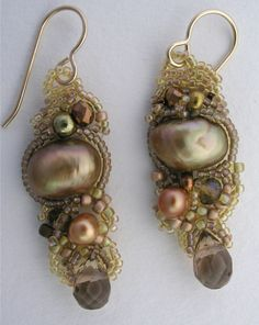 Bead Weave earrings amber gold pearl crystal