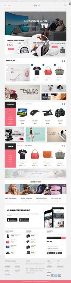 H2Shop – Multipurpose Responsive Magento Theme #facebook #fashion #mega menu #modern #shopping #$84