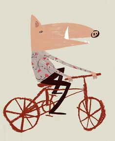 littlechien posted this Rob Hodgson Bicycle Illustration, Children's Book Illustration, Funky Art, Bicycle Art, Bear Art, Cute Art, Character Design, Poster Prints, Drawings