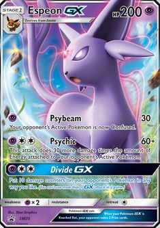 [P] Psybeam: 30 damage. Your opponent's Active Pokémon is now Confused. [P][C][C] Psychic: 60+ damage. This attack does 30 more damage times the number of Energy attached to your opponent's Active Pokémon. [P][C][C] Divide GX: Put 10 damage counters on your opponent's Pokémon in any way you like. (You can't use more than 1 GX attack per game.)