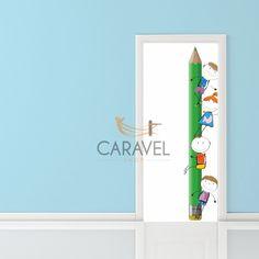 Παιδικό Αυτοκόλλητο Πόρτας παιδάκια με μολίβι Decals, Home Decor, Tags, Decoration Home, Room Decor, Sticker, Decal, Home Interior Design, Home Decoration