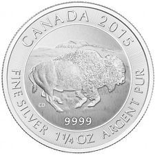 (1) 2015- 1.25 oz Canadian Bison 9999 pure Silver $8 Coin Brilliant Uncirculated