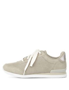 Perforated Lace-Up Sneakers by Charlotte Russe - Gray
