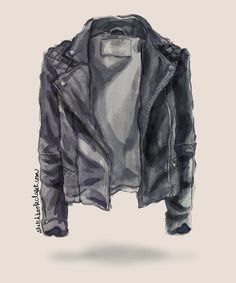 All Saints Spitalfields Cargo Leather biker jacket watercolor fashion illustrati. All Saints Spitalfields Cargo Leather biker jacket watercolor fashion illustration sketch