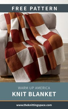 Give your home decor an extra dose of coziness with this Warm Up America Knit Blanket. It's the perfect new charity project for the winter, and it meets standards for donating to the Warm Up America Foundation. The pattern is ideal for intermediate knitters to tackle. | Discover over 5,500 free knitting patterns at theknittingspace.com All Free Knitting, Winter Knitting Patterns, Dishcloth Knitting Patterns, Knit Patterns, Hand Knitting, Stay Warm, Warm And Cozy, Diy Living Room Decor, Knit Pillow