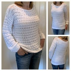 Lightweight sweaters are the unsung hero of summer. Whether for breezy days by the sea, a nautical excursion, or in high-blast A/C, here is your own crocheted sweater to add to your warm-weather wardrobe. Crochet Summer Tops, Crochet Winter, Knit Or Crochet, Free Crochet, Crochet Sweaters, Top Pattern, Free Pattern, White Sweaters, Pretty Patterns