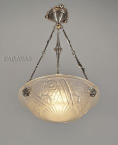SCHNEIDER 1930 French art deco chandelier in nickel plated solid brass and moulded-pressed frosted glass. (paravas-ebay)