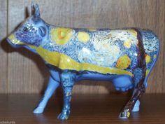 5bcb80e8e3f Cow Parade 9196 STARRY STARRY COW Retired Ceramic Van Gogh 2001 Blue Kansas  City