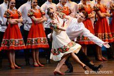 Igor Moiseyev Folk Dance Company perform the Polovets Dances at the Bolshoi Theatre in Moscow.