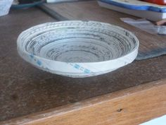 """paper bowl """"old news"""" - made of old newspapers"""