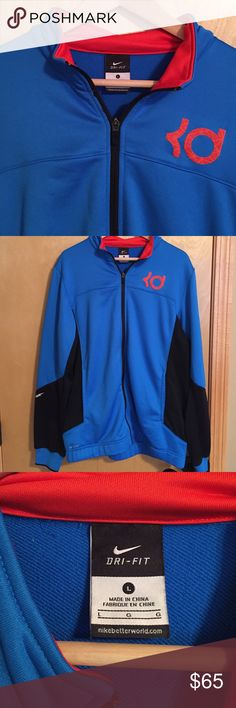 Nike Large zip-up sweatshirt Nike Large blue, red, and black zip-up sweatshirt- worn only a couple times- $65, or best offer. Nike Shirts Sweatshirts & Hoodies