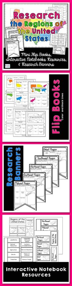Regions of the United States Research Flip Book, Banners, & Interactive Journals  Your students will enjoy learning about regions of the United States with this interactive packet. (scheduled via http://www.tailwindapp.com?utm_source=pinterest&utm_medium=twpin&utm_content=post108252135&utm_campaign=scheduler_attribution)
