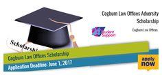 Cogburn Law Offices provides opportunities for students to apply for this Cogburn Law Offices Adversity Scholarship. U.S. residents who will be enrolled full-time in an accredited community college, college or university can apply for the scholarship program.The student who will win the scholarship, receive one $5,000 need-based scholarship.