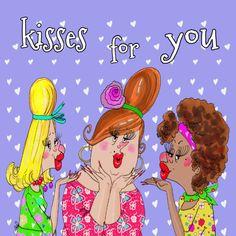 Voor de jarige 1000 kussen. Dat gaat een gezellige dag worden. Een grappige Ings kaart.