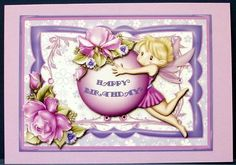 Lilac Birthday Fairy 7 x 5 Card Front on Craftsuprint designed by Judith Mary Howells - made by Cheryl French - Printed onto glossy photo paper. Attached base image to card stock using ds tape. Built up image with 1mm foam pads. Added lilac gems to finish. - Now available for download!