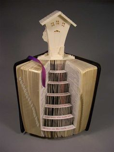 """Artist Books """"Domestic Tranquility"""" - Altered Book with paper sculpture, illustrating Bible verse Matthew 7:24"""