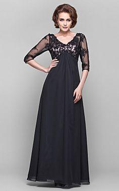 A-line V-neck 3/4 Length Sleeve Lace And Chiffon Floor-lengt... – USD $ 149.99
