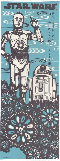 "Above the chrysanthemum pattern on the tenugui, C3PO is in his classic stance next to his dear friend. R2D2. The Japanese word tenugui translates to ""towel"" or ""rag"". Through the centuries tenugui was"