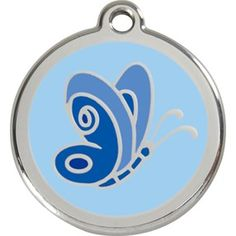Red Dingo Stainless Steel & Enamel Blue Butterfly Dog ID Tag – Dog Supplies Comic Sans, Dingo Dog, Engraved Dog Tags, Butterfly Lighting, Personalized Dog Collars, Dog Branding, Dog Ages, Wood Dog, Cat Id Tags