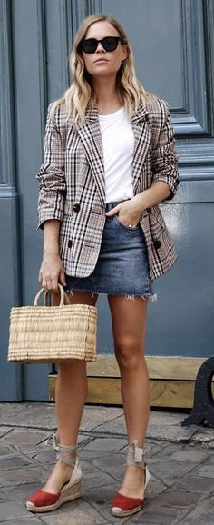 what to wear with a denim skirt plaid blazer white top bag sandals