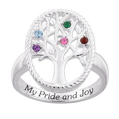 Tree Of Life Rings 925  Sterling Silver Birthstone Family Tree Ring Size  8 Pugster.com