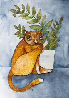 cat Watercolor Painting Original  cute pet by NORAillustration