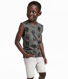 Dark gray/Marvel Comics. Tank top in cotton jersey with a printed design. Ribbed neckline and raw edges at armholes and hem.