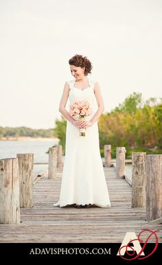 I loved Sarah's lace dress, romantic updo and rustic floral bouquet for her bridals.