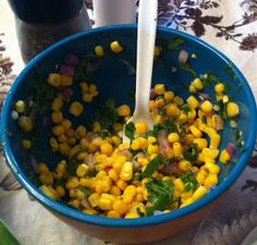 Let's Give Peas a Chance: Corn Salsa.....add a little finely diced jalapeño and kosher salt
