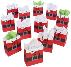 Santa Clause Suit Christmas Gift Bags Xmas Bag For Gifts, 12 Piece Pack  #Prextex #Christmas