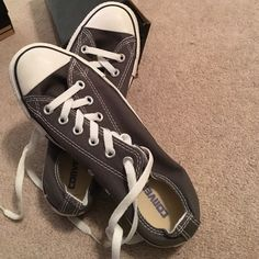 LIKE NEW CONVERSE Grey & white may have worn once or twice no signs of wear super great condition Converse Shoes Sneakers