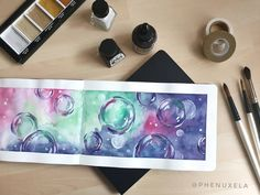 watercolor bubbles - sketchbook (@phenuxela) White Ink, My Drawings, Watercolor Paintings, Bubbles, Inspiration, Biblical Inspiration, Water Colors, White Tattoos, Watercolour Paintings
