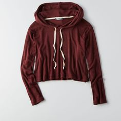 AEO Don't Ask Why Crop Hoodie ($45) ❤ liked on Polyvore featuring tops, hoodies, jackets, red, red hoodie, red hoodies, hooded sweatshirt, crop top and cropped hoodie