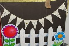 Bee Themed Classroom picket fence for the back of long shelf