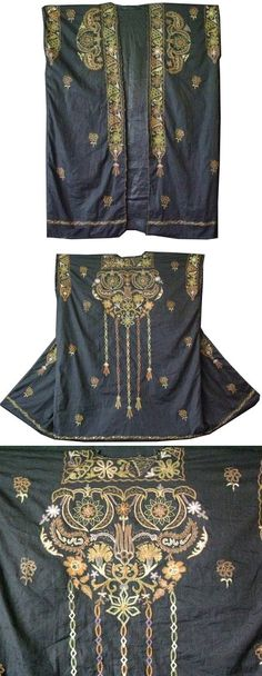 Syria, women's dress, natural dyed silk and metallic chain stitch embroidery on silk, ottoman floral motifs, around late 19 cent
