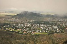 Graaff-Reinet is circular in shape as it was established within the ox-bow of the Sunday's River. In fact it is the fourth oldest town in South Africa. I Am An African, Birds Eye View, Mount Rainier, Old Town, South Africa, City Photo, Journey, River, Mountains