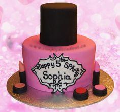2 Tier Fondant Nail Polish Birthday Cake with Fondant Eye Shadow & Lipstick