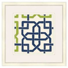 """Archival quality-printed wall art with trellis motif. Made in the USA.  Product: Wall artConstruction Material: Archival print and woodColor: White frameFeatures:  Expertly hand-craftedFramed prints are custom made with quality wood mouldingMade in the USA Dimensions: Unframed: 12"""" H x 12"""" W  Framed: 18"""" H x 18"""" W   Note: Hanging hardware included"""