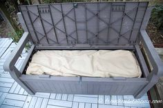 This is a great natural way to keep spiders (and other critters) out of your outdoor patio storage boxes without using pesticides or other harmful chemicals. It's so easy and works so well, I'm going to try it in my shed, too! Outdoor Storage Boxes, Patio Storage, Plastic Box Storage, Bench With Storage, Wall Storage, Storage Containers, Deck Cleaner, Blanket Storage, Patio Cushions