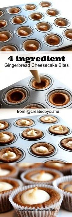 4 ingredient gingerbread cheesecake bites from @createdbydiane